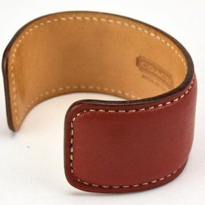 Coach Red Leather Cuff Bracelet